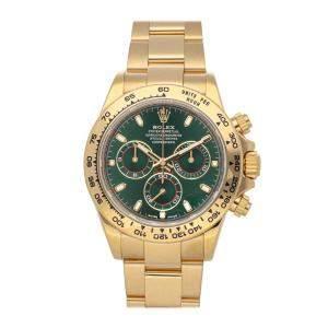 ساعة يد رجالية رولكس دايتونا 116508  كوزموغراف ذهب أصفر عيار 18 خضراء 40مم