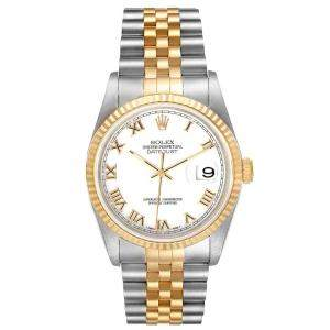 Rolex White 18K Yellow Gold And Stainless Steel Datejust 16233 Men's Wristwatch 36 MM