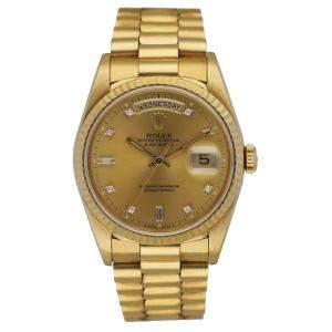 Rolex Champagne Diamonds 18k Yellow Gold Day-Date 18238 Men's Wristwatch 36 MM