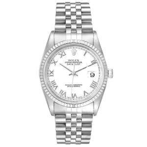 Rolex White 18K White Gold And Stainless Steel Datejust 16234 Men's Wristwatch 36 MM