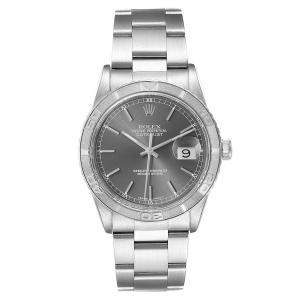 Rolex Grey 18K White Gold And Stainless Steel Turnograph Datejust 16264 Men's Wristwatch 36 MM