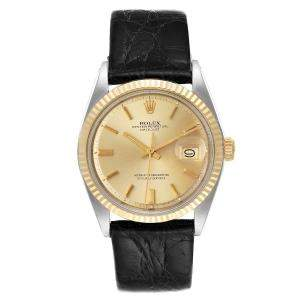 Rolex Champagne 18K Yellow Gold And Stainless Steel Datejust Vintage 1601 Men's Wristwatch 36 MM