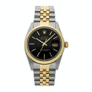 Rolex Black 18K Yellow Gold And Stainless Steel Datejust 16013 Men's Wristwatch 36 MM