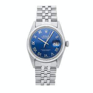 Rolex Blue 18K White Gold And Stainless Steel Datejust 16014 Men's Wristwatch 36 MM