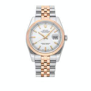 Rolex White 18K Rose Gold And Stainless Steel Datejust 116231 Men's Wristwatch 36 MM