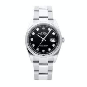 Rolex Black Diamonds 18K White Gold And Stainless Steel Datejust 126234 Men's Wristwatch 36 MM