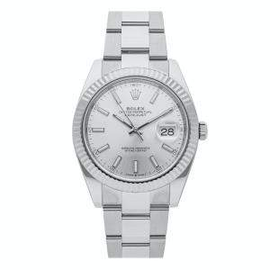 Rolex Silver 18K White Gold And Stainless Steel Datejust 126334 Men's Wristwatch 41 MM