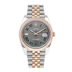 Rolex Grey 18K Rose Gold And Stainless Steel Datejust 126331 Men's Wristwatch 41 MM