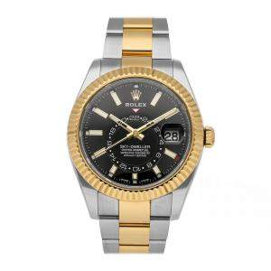 Rolex Black 18k Yellow Gold And Stainless Steel Sky-Dweller 326933 Men's Wristwatch 42 MM