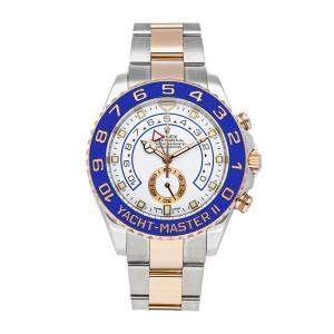 Rolex White 18K Rose Gold And Stainless Steel Yacht-Master II 116681 Men's Wristwatch 44 MM
