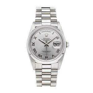 Rolex Silver Platinum Day-Date 18206 Men's Wristwatch 36 MM