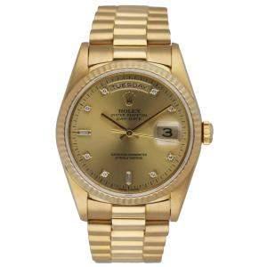 Rolex Champagne Diamonds 18K Yellow Gold Day Date President 18238 Men's Wristwatch 36 MM