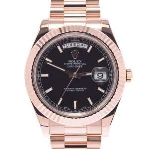 Rolex Black 18K Rose Gold Day-Date 218235 Automatic Men's Wristwatch 41 MM