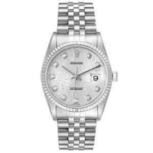 Rolex Silver Diamonds Stainless Steel Datejust 16234 Men's Wristwatch 36 MM