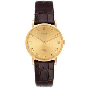 Rolex Champagne 18K Yellow Gold Cellini Classic 5112 Men's Wristwatch 32 MM