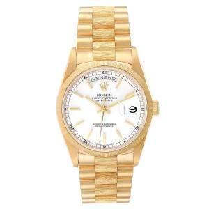 Rolex White 18k Yellow Gold Day-Date President 18248 Men's Wristwatch 36 MM