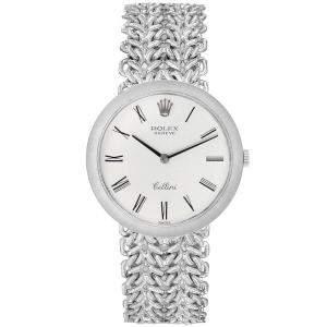 ساعة يد رجالية رولكس سيليني فينتدج 3838 ذهب أبيض عيار 18 فضية 31مم