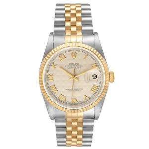 Rolex Ivory 18K Yellow Gold And Stainless Steel Datejust 16233 Men's Wristwatch 36 MM