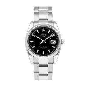 ساعة يد رجالية رولكس أويستر بربتشوال ديت 115200 ستانلس ستيل سوداء 34مم