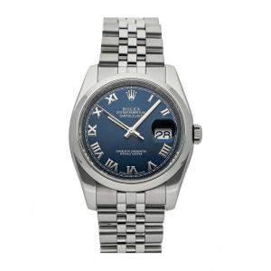 Rolex Blue Stainless Steel Datejust 116200 Men's Wristwatch 36 MM
