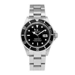 Rolex Black Stainless steel Submariner Date 16610 Men's Wristwatch 40 MM