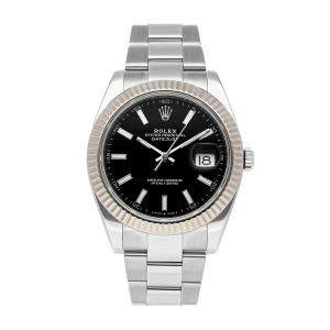 Rolex Black 18k White Gold and Stainless Steel Datejust 126334 Men's Wristwatch 41 MM