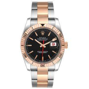 Rolex Black 18K Rose Gold And Stainless Steel Turnograph Datejust 116261 Men's Wristwatch 36 MM
