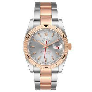 Rolex Silver 18K Rose Gold And Staineless Steel Turnograph Datejust 116261 Men's Wristwatch 36 MM