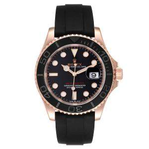 Rolex Black 18k Rose Gold And Stainless Steel Yachtmaster 126655 Men's Wristwatch 40 MM
