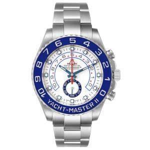 Rolex White Stainless Steel Yachtmaster II 116680 Cerachrom Bezel Men's Wristwatch 44 MM