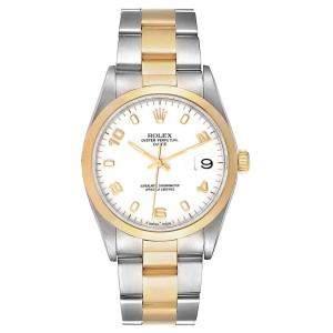 Rolex White Stainless Steel 18K Yellow Gold Date 15203 Men's Wristwatch 34MM