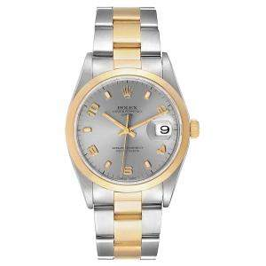 Rolex Slate 18K Yellow Gold Stainless Steel Date 15203 Men's Wristwatch 34MM