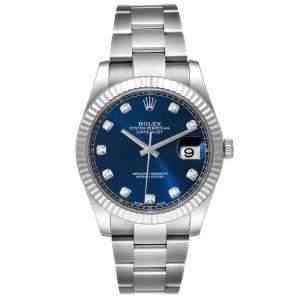 Rolex Blue 18K White Gold Stainless Steel Diamond 126334 Datejust Men's Wristwatch 41MM