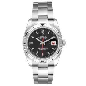 Rolex Black 18K White Gold Stainless Steel Datejust Turnograph 116264 Men's Wristwatch 36MM