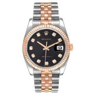 Rolex Black Diamonds 18k Rose Gold And Stainless Steel Datejust 116231 Men's Wristwatch 36 MM