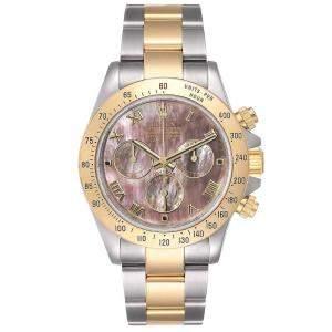 Rolex MOP Daytona Stainless Steel 18K Yellow Gold 116523 Chronograph Men's Wristwatch 40MM