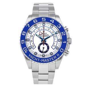 Rolex White Stainless Steel Yacht-Master II 116680 Men's Wristwatch 44 MM