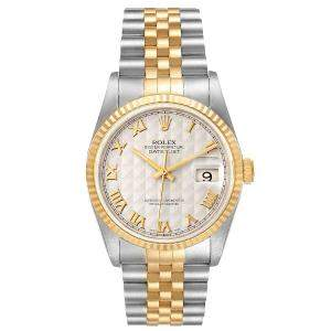 Rolex Silver 18K Yellow Gold And Stainless Steel Datejust 16233 Automatic Men's Wristwatch 36 MM