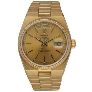 Rolex Champagne 18K Yellow Gold Day Date Oysterquartz 19018 Men's Wristwatch 36 MM