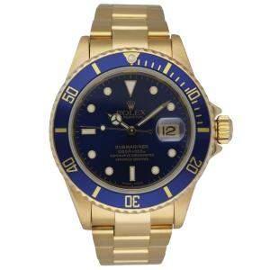 Rolex Blue 18K Yellow Gold Submariner 16618 Men's Wristwatch 40 MM