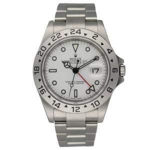 Rolex White Stainless Steel Explorer II 16570 Men's Wristwatch 40 MM