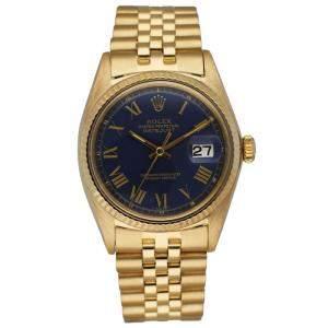 Rolex Blue 18K Yellow Gold Datejust 1601 Men's Wristwatch 36 MM