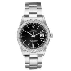 Rolex Black 18K White Gold and Stainless Steel Turnograph Datejust 16264 Men's Wristwatch 36 MM