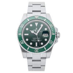 """Rolex Green Stainless Steel Submariner Date """"Hulk"""" 116610LV Men's Wristwatch 40 MM"""