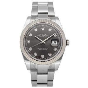 Rolex Grey Diamonds Stainless Steel Datejust 126334 Men's Wristwatch 41 MM