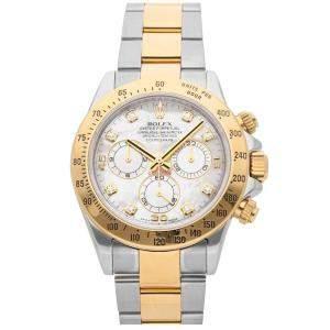 Rolex MOP Diamonds 18K Yellow Gold And Stainless Steel Cosmograph Daytona 116523 Men's Wristwatch 40 MM