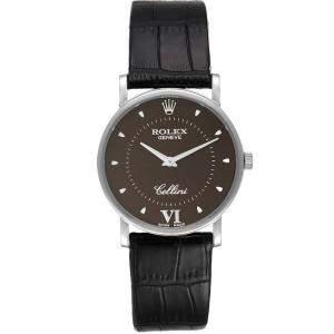 Rolex Brown 18k White Gold Cellini Classic 5115 Men's Wristwatch 32 MM