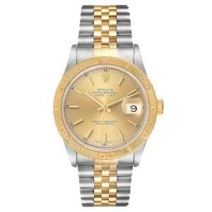 Rolex Champagne 18K Yellow Gold And Stainless Steel Datejust Turnograph 16263 Men's Wristwatch 36 MM