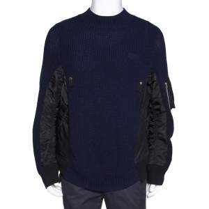 Sacai Navy Blue Rib Knit Wool Paneled Pullover M