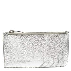 Saint Laurent Metallic Silver Leather Zip Card Holder